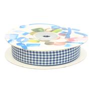 Band - Sierband geruit (20 mm) donkerblauw/wit*