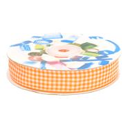 Band - Sierband geruit (20 mm) oranje/wit*