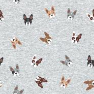 Dierenmotief stoffen - NB21 16492-061 French Terry hondjes grijs gemeleerd
