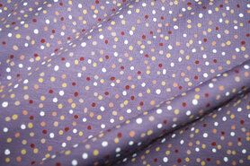 Paarse stoffen - KC10005-043 Tricot mix dots lila