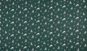 Feeststof - K15024-025 Kerst katoen rendier groen