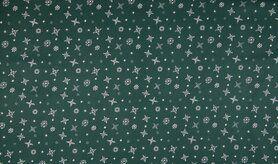 Feeststof - K15026-025 Kerst katoen sneeuwvlokken groen