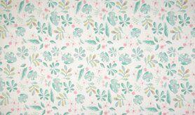 Katoen met elastan - K10002-050 Tricot blaadjes wit/mint/roze