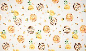 Gele stoffen - K50025-083 Tricot donuts geel