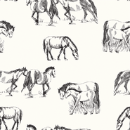 Dierenmotief stoffen - NB21 16443-051 Tricot digitaal paarden off-white
