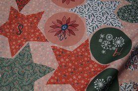Beddengoed - ByPoppy 8069-001 Katoen kerstfiguren rood/groen