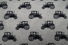 Weiße/cremefarbene Stoffe - NB21 16442-051 Tricot tractor off-white