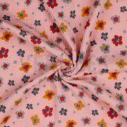Katoenen stoffen - ByPoppy21 8853-009 Hydrofielstof bloemetjes oudroze