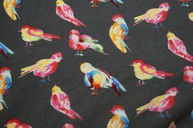 Dierenmotief stoffen - ByPoppy21 5766-002 Tricot vogeltjes taupe/multi