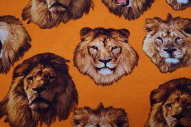 Dierenmotief stoffen - KC7510-056 Tricot leeuwenkop oranje