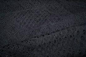 Polytex stoffen uitverkoop - Ptx 960540 Kant fantasie zwart