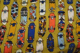 Tricot stoffen - VH5493 Tricot skateboard mosterd multi