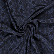 Tricot stoffen - NB21 16358-006 Tricot abstract snake indigo