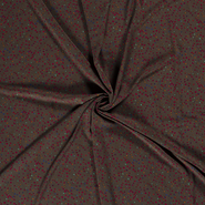 Polyester stof - NB21 16272-054 Chiffon bedrukt stippen bruin/taupe