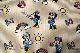 Katoenen stoffen - JO 4983-60 Katoen Minnie streep blauw