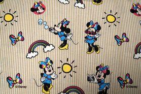 Kinderstof - JO 4983-60 Katoen Minnie streep blauw