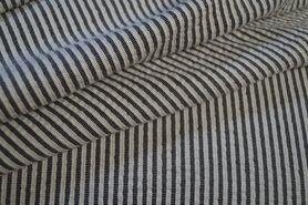 Katoenen stoffen - kn 17510-999 Seerscker streep grijs/off-white