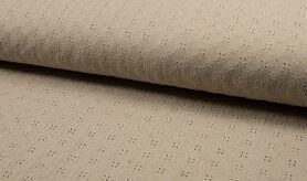 Effen katoenen stoffen - KC 8293-052 Bambino embroidery sand