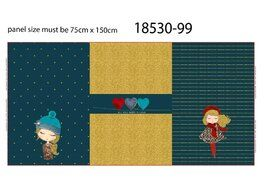 Katoen Tricot - Stenzo 21/22 18530-99 French Terry digital Panel Áll you need is love petrol/gold