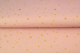 Goldfarbige Stoffe - Stenzo 21/22 18585-12 French Terry digital dots rosa/gold