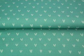 Hart motief - Stenzo 21/22 18586-99 French Terry digitaal hartjes turquoise