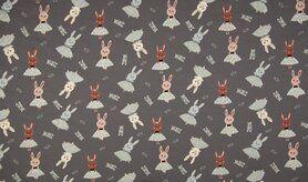 Stretch stoffen - K23016-068 Tricot glitter dancing rabbit donkergrijs