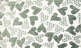 Badjas stoffen - KC4007-311 Fleece jacquard hearts ecru/grijs