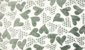 Witte / creme stoffen - KC4007-311 Fleece jacquard hearts ecru/grijs