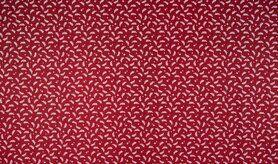 Kerst motief - K15046-016 Kerst katoen kleine blaadjes rood