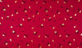 Festlicher Stoff - K25003-016 Kerst katoen blaadjes foil rood/goud