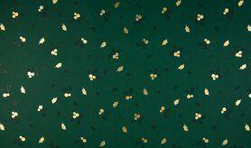 Feeststoffen - K25003-025 Kerst katoen blaadjes foil groen/goud