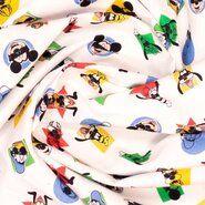 Weiße/cremefarbene Stoffe - Ptx 21/22 669116-20 Katoen Disney Micky/Pluto/Donalds wit/multi