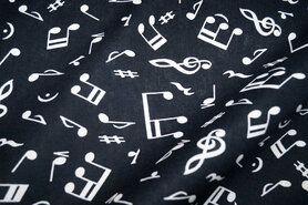 Schwarze Stoffe - Katoen muzieknoten zwart/wit