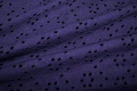 Effen stoffen - KN 21/22 17620-800 Tricot geborduurd kant paars