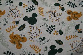 Gele stoffen - Ptx 21/22 669103-13 Katoen mickey mousse wit/oker/groen