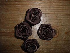 Bloemen - Roosje satijn donkerbruin 3 cm op=op