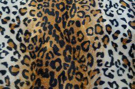 Cognac - NB 4503-054Dierenprint banen/vlekken ecru/cognac/zwart