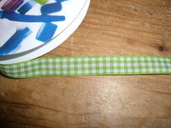 10 mm band - Sierband geruit (10 mm) lime/wit*