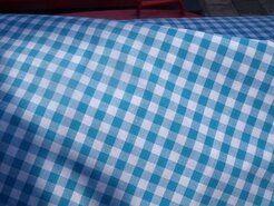 Boerenbont stoffen - NB 5635-004 Boerenbont ruit turquoise 1 cm