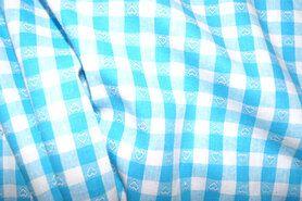 Boerenbont stoffen - NB 5638-004 Boerenbont ruit/hartje turquoise