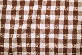 Boerenbont stoffen - NB 5638-055 Boerenbont ruit/hartje donkerbruin