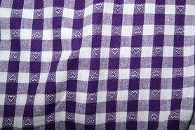 Boerenbont stoffen - NB 5638-045 Boerenbont ruit/hartje paars