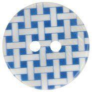 Kunststof knopen - Knoop geruit blauw 5601-28*