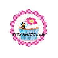 Applicaties - Full color applicatie Cup Cake fuchsia/blauw