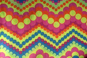 Carnavalsstoffen - Carnaval fantasie zigzag multi (uitverkocht)