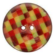 Knopen - Kokos knoop ruit 5683/64 col 10 rood/groentinten op=op