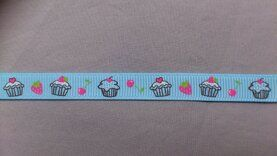 Band met hartjes - Ripslint cup cake 9 mm lichtblauw (22385/9)*