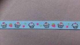 Gewebtes Band - Ripsband cup cake 9 mm hellblau(22385/9)