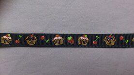 Band met hartjes - Ripslint cup cake 9 mm zwart (22385/9)*