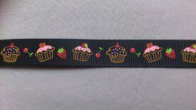 Band met hartjes - Ripslint cup cake 16 mm zwart (223385/16)*